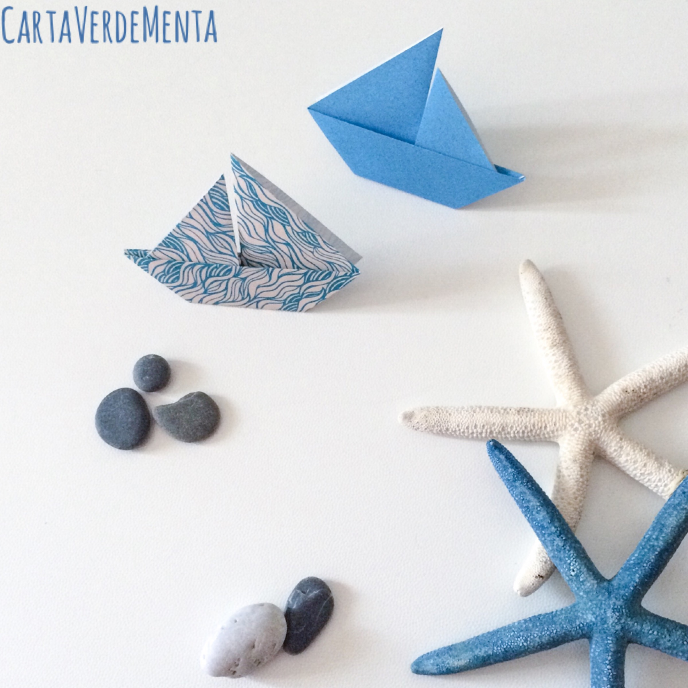 Barchetta Origami E Pomi Pugliesi Carta Verde Menta